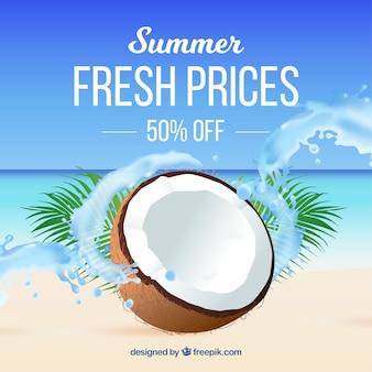 現実的なスタイルの夏の販売の背景