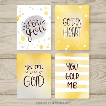 Коллекция карт блеска с золотым цветом