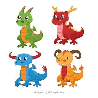 フラットデザインのベイビードラゴンキャラクターコレクション