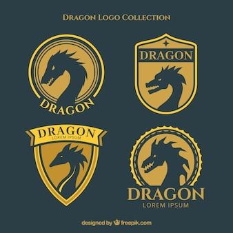 フラットデザインのドラゴンロゴコレクション