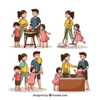 Обрабатываемый вручную набор семей, занимающихся различными видами деятельности