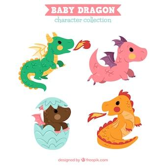 手描きの赤ちゃんドラゴンキャラクターコレクティ