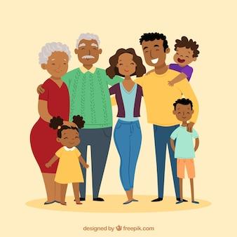 手で描かれたスタイルで大きな幸せな家族