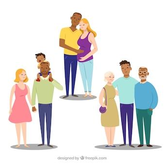 Рисованная семья на разных этапах жизни