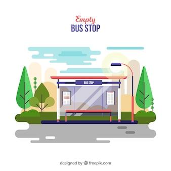 フラットデザインの空のバス停