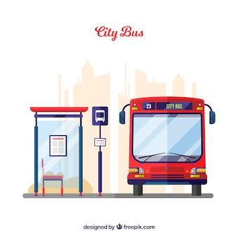 平らなデザインの都市バスとバス停