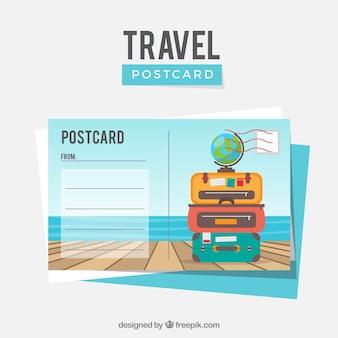 フラットデザインの旅行ポストカードテンプレート