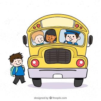子供たちと手で描かれたスクールバス