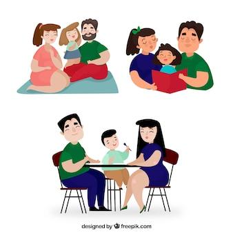 さまざまな活動をしている家族の手描きのセット