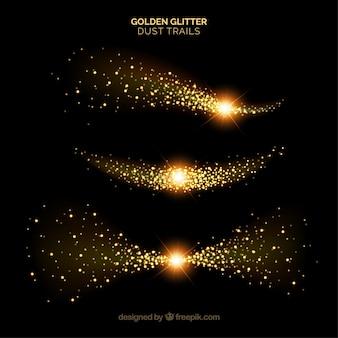 Набор сверкающих пылевых хвостов в золотом стиле