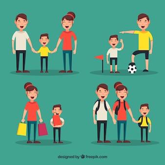 さまざまな活動をしている家族のフラットな収集