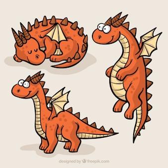 手描きドラゴンキャラクターの楽しいパック
