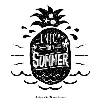 黒インクで夏のレタリング