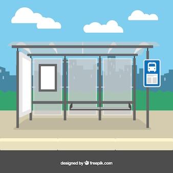 Пустая автобусная остановка с плоской конструкцией