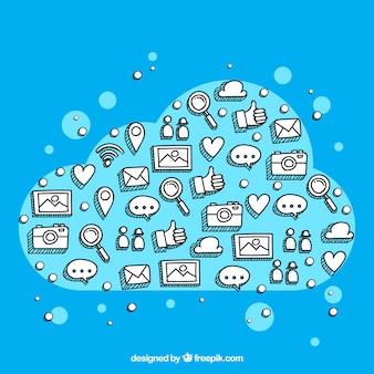 Рисованные элементы социальных сетей в форме облаков