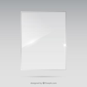 Прямоугольная стеклянная рамка в реалистичном стиле