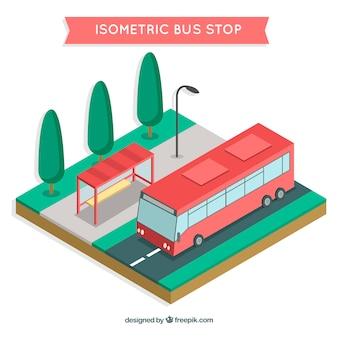 Изометрический вид автобусной и автобусной остановки