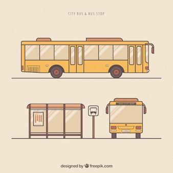 手描きの都市バスとバス停