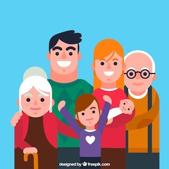フラットデザインの大きな幸せな家族