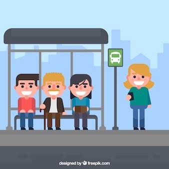 Люди, ожидающие автобуса с плоским дизайном