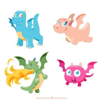 Коллекция персонажей драконов с плоским дизайном