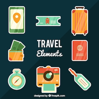 Коллекция элементов путешествия с плоским дизайном