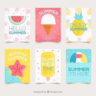 ビーチ要素を備えた夏のカードコレクション