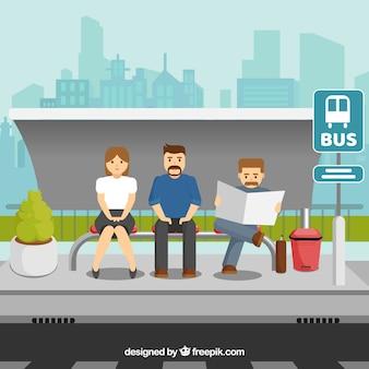 Плоские символы, ожидающие автобуса
