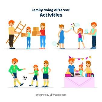 Плоская коллекция семьи, занимающаяся различными видами деятельности