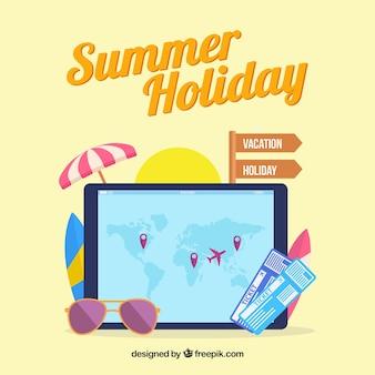 Плоская карта с элементами летнего отдыха