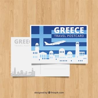 Шаблон открытки в греции с плоским дизайном