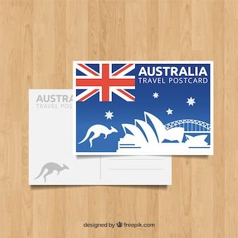 Шаблон для открытки в австралии с плоским дизайном