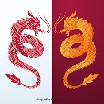 伝統的な中国の龍のシルエットコレクション