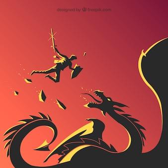 ドラゴンとのビジネスキャラクターの戦いの背景