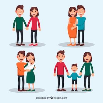 Счастливая семья на разных этапах жизни с плоским дизайном