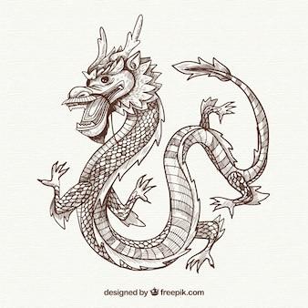 Рисованный традиционный китайский дракон