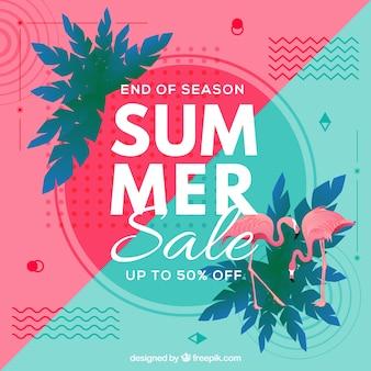 ビーチ要素と夏の販売の背景