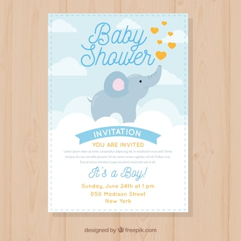 Приглашение для детского душа с милым слоном