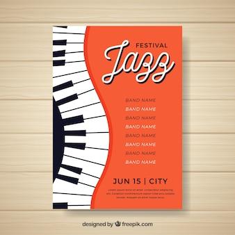 Плакат с музыкальным фестивалем с фортепиано
