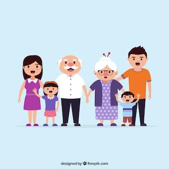 Большая счастливая семья с плоским дизайном