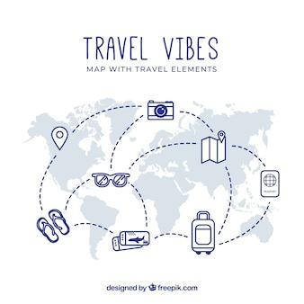 Карта и элементы путешествия с плоским дизайном