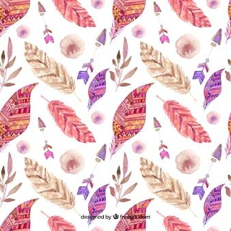水彩羽のボホーパターン