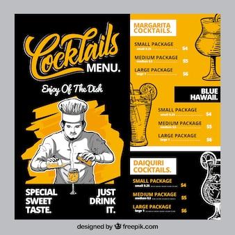 Шаблон меню коктейля с ручным рисунком