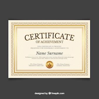 Шаблон сертификата с золотым цветом
