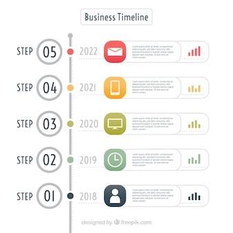Красочная временная шкала бизнеса с плоской конструкцией