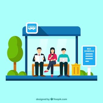 Автобусная остановка и люди с плоским дизайном