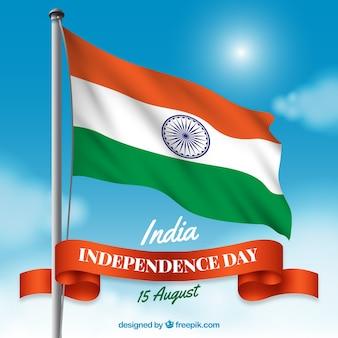 現実的な旗を掲げたインド独立記念日の組成