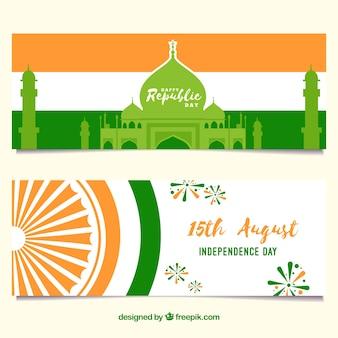 Баннеры для дня независимости индии с плоским дизайном