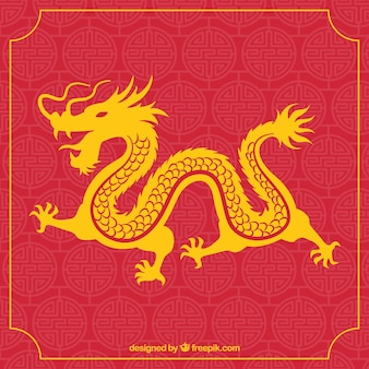 シルエットデザインの伝統的な中国の龍
