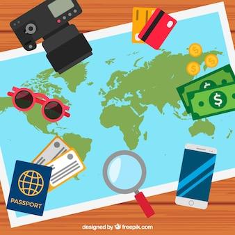 Фон с картами и элементами путешествия